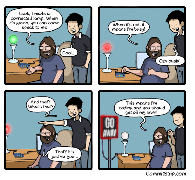 Distraksi Programmer. Dont bother the coder - Commitstrip